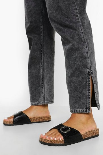 Black Croc Buckle Footbed Slider