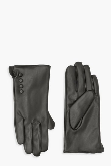 Black Button Detail Pu Glove