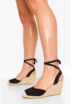 Black Wide Fit Wrap Up Espadrille Wedges