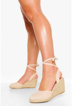 Nude Wide Fit Wrap Up Espadrille Wedges