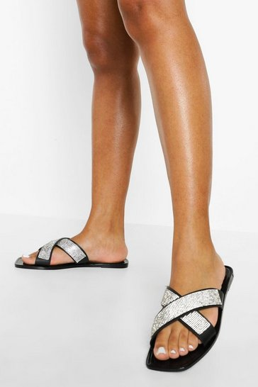 Black Wide Fit Embellished Cross Strap Jelly Slider