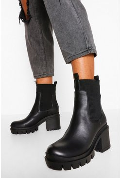 Black Cleated Sole Block Heel Chunky Sock Boots