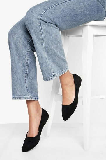 Black Wide Fit Pointed Toe Ballet Pumps
