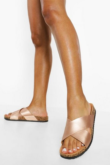Rose gold metallic Crossover Footbed Sandal