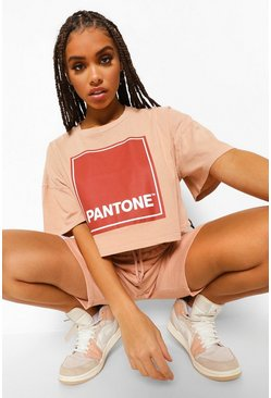 Camel beige Pantone Acid Wash Cropped T-shirt