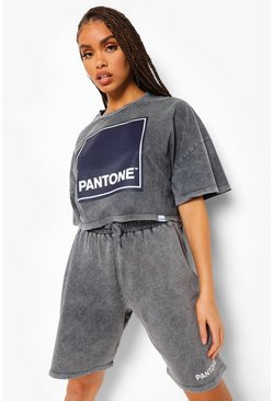 Grey Pantone Acid Wash Cropped T-shirt
