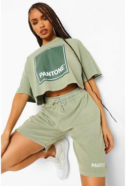 Washed lime yellow Pantone Acid Wash Cropped T-shirt