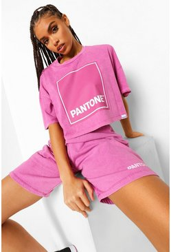 Washed pink pink Pantone Acid Wash Cropped T-shirt