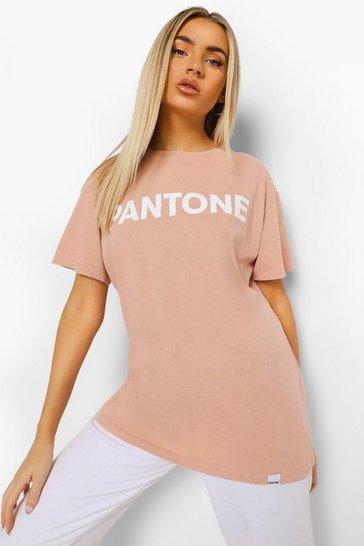Camel beige Beige Pantone Acid Wash T-Shirt