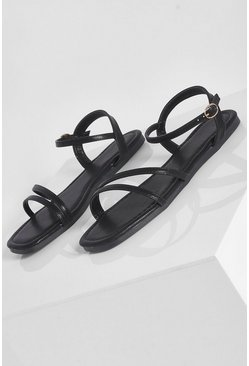 Wide Fit Basic Strappy Sandal, Black schwarz