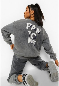 Grey Pantone Acid Wash Crew Neck Sweatshirt