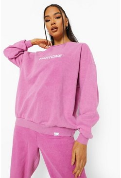 Washed pink pink Pantone Acid Wash Crew Neck Sweatshirt