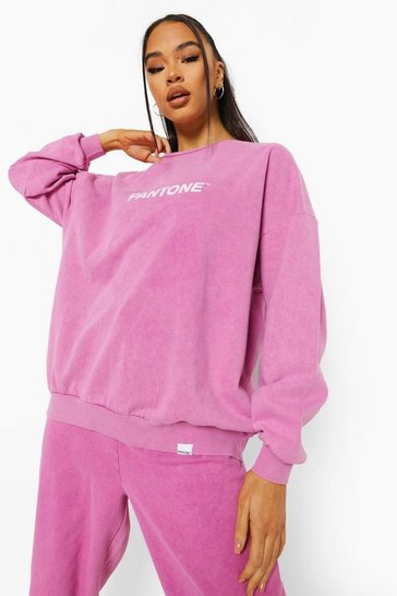 Washed pink pink Pink Pantone Acid Wash Crew Neck Sweatshirt