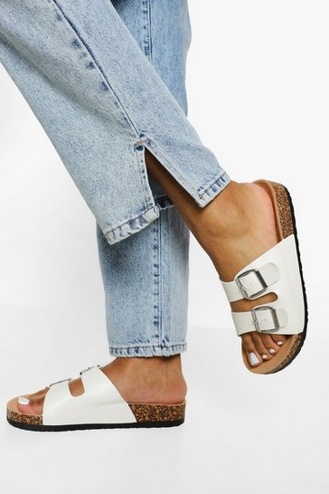 White Double Buckle Footbed Slider