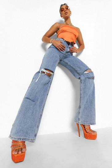 Blue Baggy Distressed Detail Split Hem Jeans