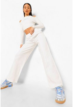Ecru white Wide Leg Embossed Official Joggers