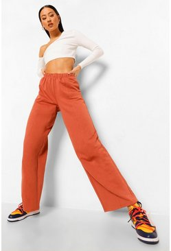 Rust orange Official Wide Leg Joggingbroek Met Reliëf