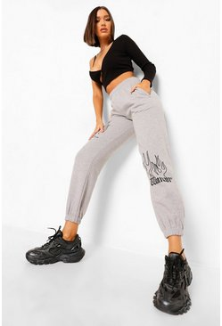 Grey marl grey Woman Gothic Flame Print Joggers
