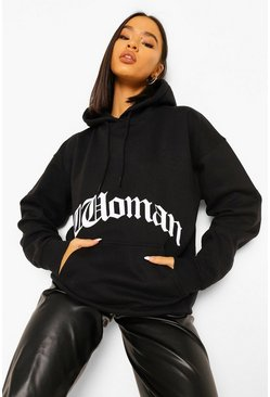 Black Woman Gothic Print Oversized Hoodie