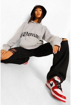 Grey marl grey Woman Gothic Print Oversized Hoodie