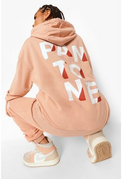 Camel beige Pantone Acid Wash Front And Back Print Hoodie