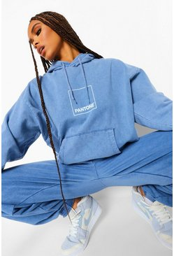 Washed blue blue Pantone Acid Wash Front And Back Print Hoodie