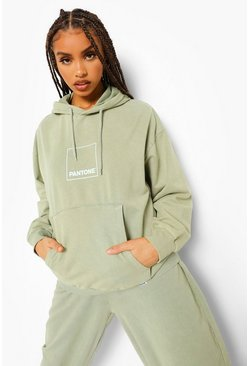 Washed lime yellow Pantone Acid Wash Front And Back Print Hoodie