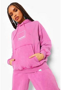 Washed pink pink Pantone Acid Wash Front And Back Print Hoodie