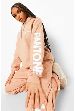 Camel beige Pantone Acid Washed Oversized Hoodie
