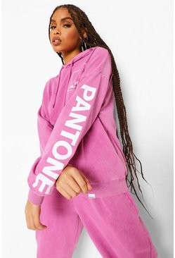 Washed pink pink Pantone Acid Washed Oversized Hoodie