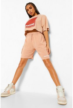 Camel beige Pantone Acid Wash Short