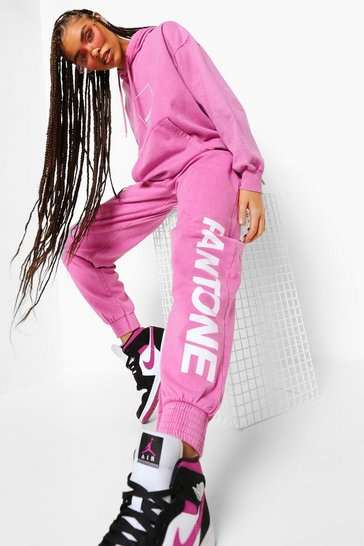 Washed pink pink Pink Pantone Acid Wash Joggers