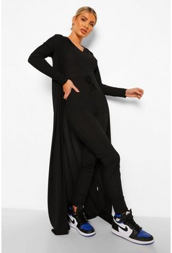 Black Rib Drawstring Jumpsuit And Duster Set