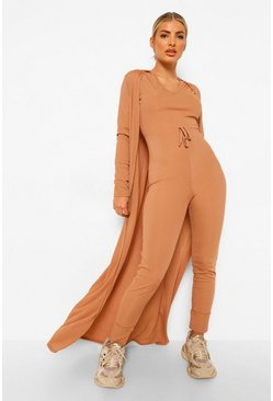 Camel beige Rib Drawstring Jumpsuit And Duster Set