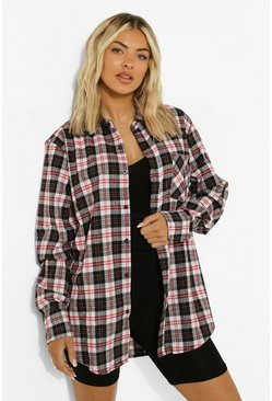 Oversized Check Shirt, Black negro