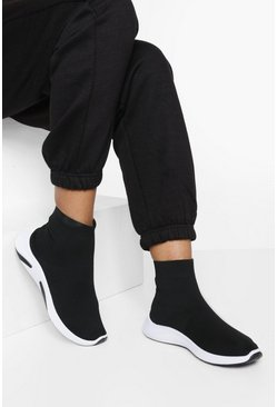 Black Wide Fit Knitted Sock Trainers