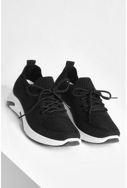 Black Wide Fit Basic Knitted Sports Trainers