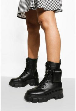 Black Pouch Detail Chunky Sole Combat Boots