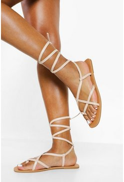 Nude Wide Fit Strappy Ankle Tie Sandal