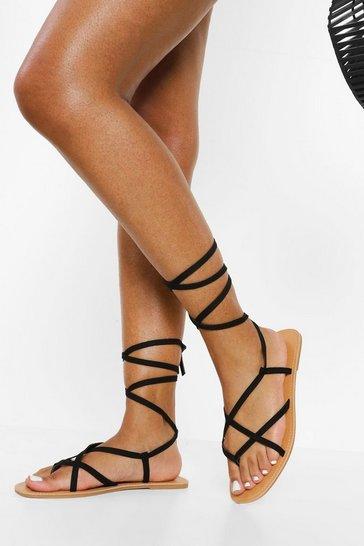 Black Strappy Ankle Tie Sandal