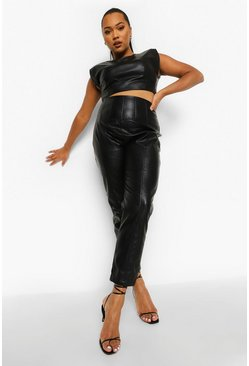 Black Plus Pu Corset Waist Split Hem Pants