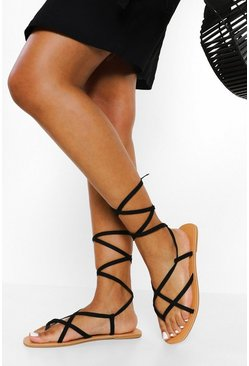 Black Wide Fit Strappy Ankle Tie Sandal
