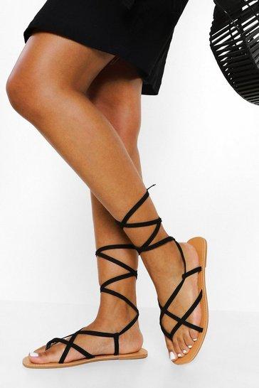 Black Wide Fit Strappy Ankle Tie Sandal