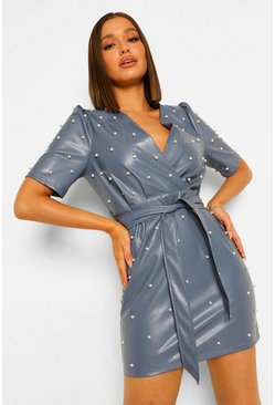 Pu Pearl Embellished Wrap Dress, Blue blau