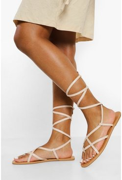 Nude Strappy Ankle Tie Sandal