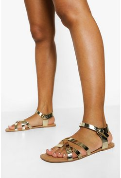 Gold metallic Triple Cross Strap Basic Sandal