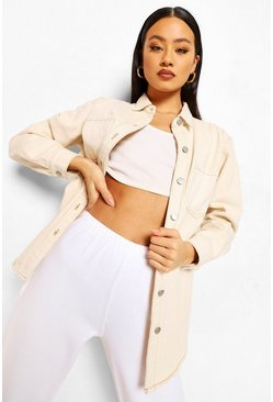 Ecru white Contrast Stitch Oversized Shirt