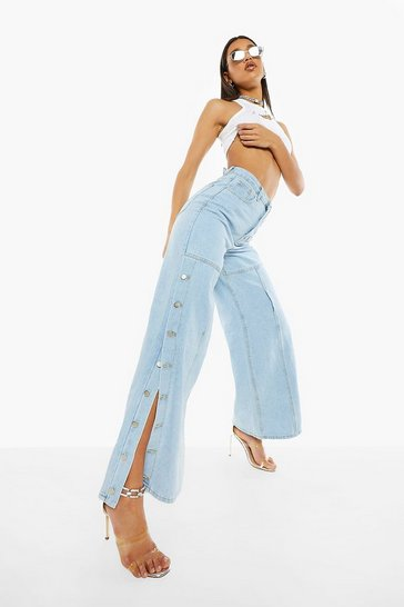 Bleach wash Boyfriend Button Down Jeans