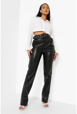 Black Premium Belted Pu Trouser