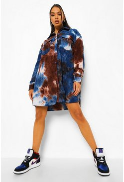 Chocolate brown Tie Dye Oversized Cord Shirt Dress